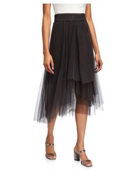 Monili Beaded Cummerbund Waist Tulle Skirt by Brunello Cucinelli