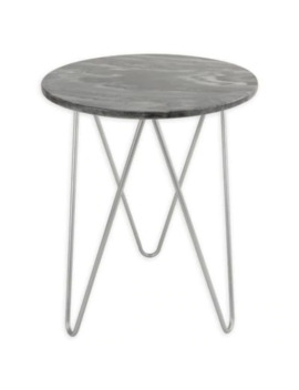 O&O By Olivia & Oliver Round Marble/Steel Side Table by Bed Bath And Beyond