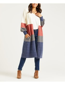 Ivory & Rust Color Block Pocket Open Cardigan   Women & Plus by Suzanne Betro Weekend