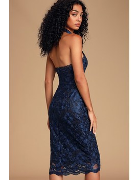 Cherished Moments Navy Blue Lace Halter Bodycon Midi Dress by Lulus