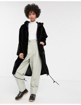 Monki Faux Fur Hooded Midi Coat In Black by Monki