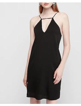 Satin Low Back Trapeze Shift Dress by Express