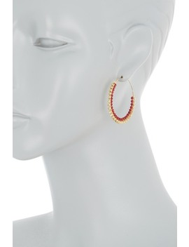 Red Gold Beaded Hoop Earrings by Panacea