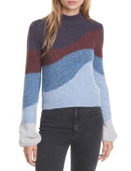 Alexey Stripe Mock Neck Sweater by Veronica Beard