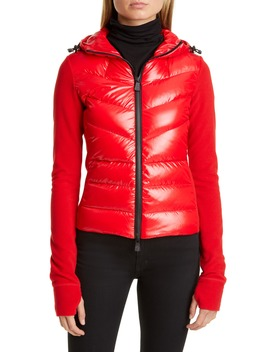 Quilted Down Front Hooded Fleece Jacket by Moncler
