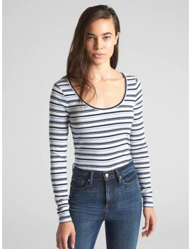 Featherweight Ribbed Stripe Long Sleeve T Shirt by Gap