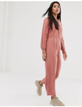 Asos Design Denim Soft Drape Jumpsuit With Longsleeve In Terracotta by Asos Design