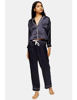 Charcoal Grey Satin Pyjama Shirt by Topshop
