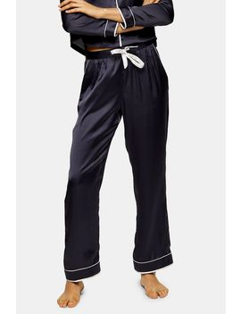 Charcoal Grey Satin Pyjama Trousers by Topshop