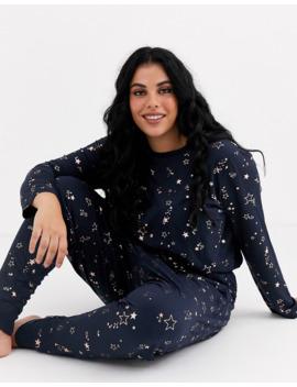 Chelsea Peers Plus Size Rose Gold Foil Star Print Long Pyjama Set by Chelsea Peers