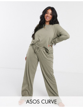 Asos Design Curve Mix &Amp; Match Jersey Long Sleeve Top And Trouser by Asos