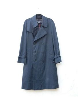 Men's Burberry Navy Trench Coat Size 50/M Nova Check Lining (No Belt) Rare Vgc by Ebay Seller