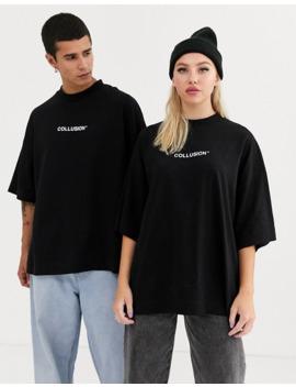 Collusion   T Shirt Unisexe à Imprimé Flamme Et Logo by Collusion