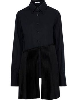 Pleated Crepe Paneled Cotton Poplin Shirt by Tome