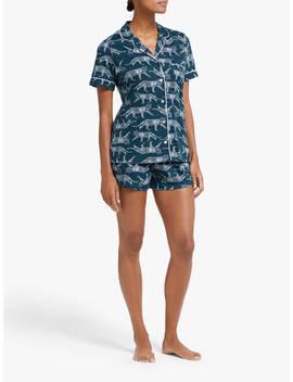 John Lewis & Partners Leopard Short Pyjama Set, Green by John Lewis & Partners