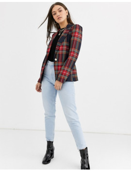 River Island Puff Sleeve Blazer In Plaid Two Piece by River Island
