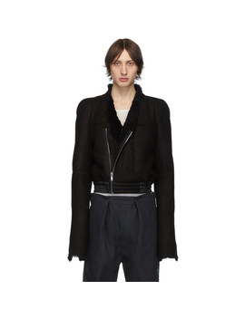 Black Shearling Zionic Bomber Jacket by Rick Owens