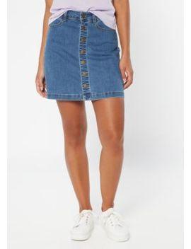 Medium Wash Button Front Jean Mini Skirt by Rue21