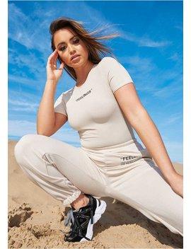 Lilly Beige Feelings Slogan Ribbed T Shirt Bodysuit by Missy Empire