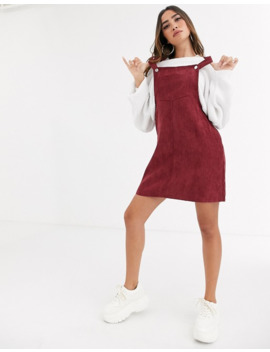 Missguided Exclusive Overall Dress In Burgundy by Missguided's
