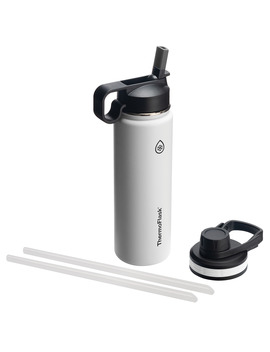 Thermoflask Stainless Steel Water Bottle With Chug And Straw Lid, 32oz White by Thermoflask