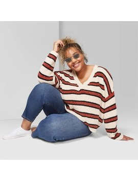 "<Span><Span>Women's Plus Size Striped Long Sleeve V Neck Sweater   Wild Fable Beige/Brown</Span></Span><Span Style=""Position: Fixed; Visibility: Hidden; Top: 0px; Left: 0px;"">…</Span> by Neck Sweater"
