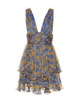 Paros Floral Silk Chiffon Minidress by Caroline Constas
