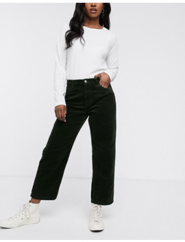 Only Wide Leg Cord Trousers In Green by Only's