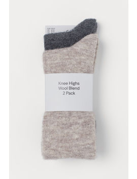 2 Pack Wool Blend Knee Socks by H&M