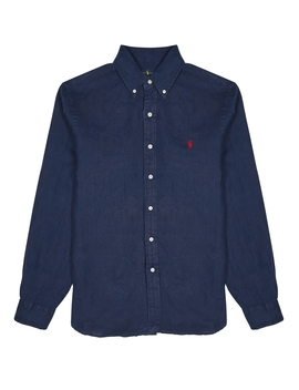 Navy Slim Linen Shirt by Polo Ralph Lauren
