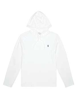 Off White Hooded Cotton Sweatshirt by Polo Ralph Lauren