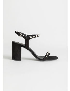 Pearl Studded Suede Heeled Sandals by & Other Stories