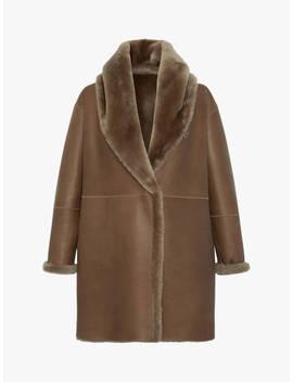 Gerard Darel Abbie Sheepskin Coat, Brown by Gerard Darel