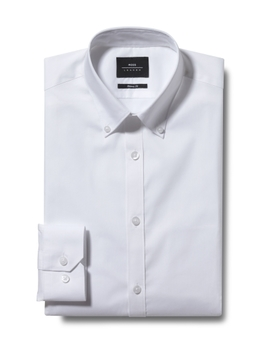 Moss London Extra Slim Fit White Single Cuff Button Down Stretch Shirt by Moss Bros