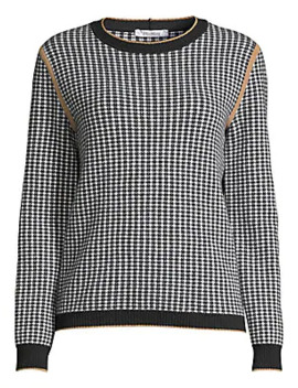 Colle Cashmere & Wool Houndstooth Crewneck Sweater by Max Mara
