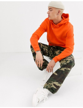 Asos Design Hoodie In Orange With Silver Side Zips by Asos Design