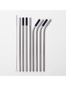9pc Stainless Steel Straws With Cleaning Brush   Room Essentials™ by Room Essentials