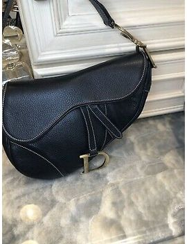 Authentic Christian Dior Saddle Bag Black Leather With Gold Hardware by Dior