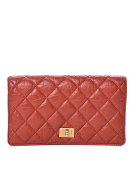 Chanel Aged Calfskin Quilted Reissue Yen Wallet Red by Chanel