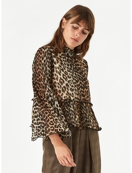 Pleated Georgette Top   Leopard by Ganni