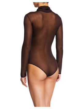 Sheer Jersey Turtleneck Bodysuit by Bottega Veneta