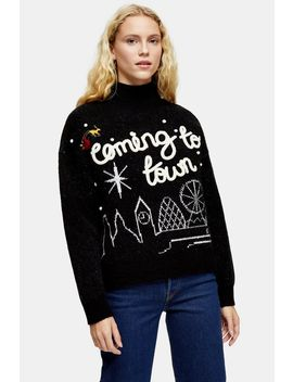 Christmas Knitted Coming To Town Jumper by Topshop