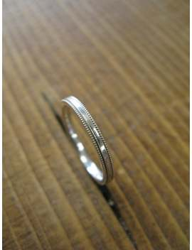 Narrow 2mm Milgrain Wedding Band   Milgrain Ring   Milgrain Edges   D Shaped   Dainty Simple Ring   Ladies Wedding Ring   Ladies Wed Band by Etsy
