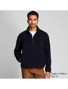 Men Fleece Half Zipped Pullover by Uniqlo
