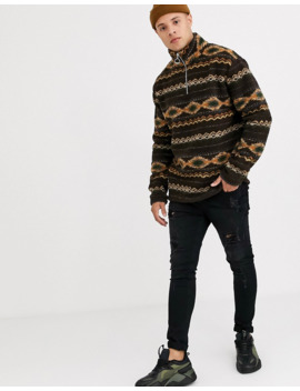 New Look Borg Jacket In Brown Print by New Look
