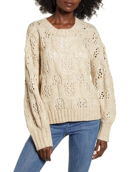 Oversized Cable & Pointelle Sweater by Moon River