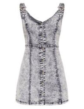 Black Snow Wash Button Through Denim Pinafore Dress by Prettylittlething