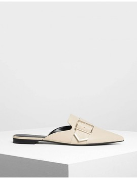 Metallic Detail Pointed Mules by Charles & Keith