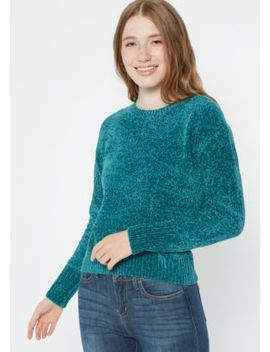 Teal Chenille Crew Neck Sweater by Rue21