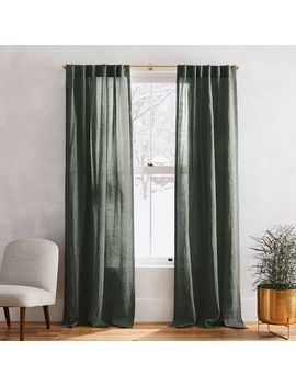 Belgian Flax Linen Melange Curtain   Olive by West Elm
